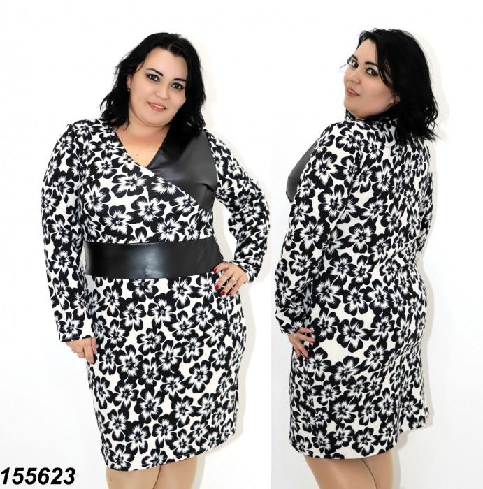 Платье женское с эко-кожей  48 50 52 54 56