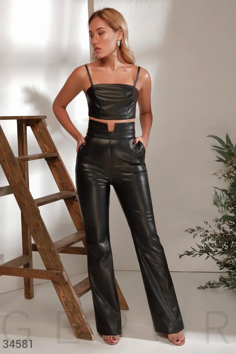 Черные брюки с высокой посадкой XS S M L