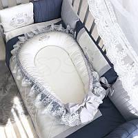 Кокон для новорожденных Маленькая Соня Royal 65*90 см сатин детский синий арт.5060183