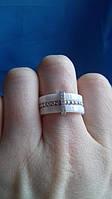 Серебряное кольцо   керамика с серебром