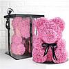 Мишка из роз в подарочной коробке 40 см