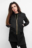 Женская весенняя черная куртка бомбер