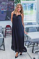 Платье в пол, трапеция, легкое, больших размеров от 42 до 56 Темно- Синий