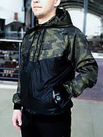 Мужская куртка не промокаемая ветровка с капюшоном Windbreaker, демисезонная Зеленый камуфляж-черный