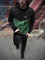 Мужская куртка не промокаемая ветровка с капюшоном Windbreaker, демисезонная Зеленый - черный