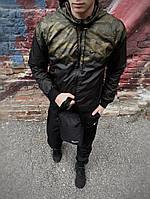 Мужская куртка не промокаемая ветровка с капюшоном Windbreaker, демисезонная Хаки камуфляж-черный
