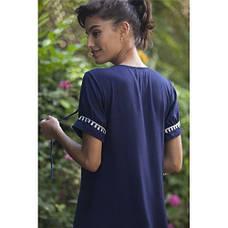 Платье тёмно-синее длинное с вышивкой коттон - 405-09, фото 3