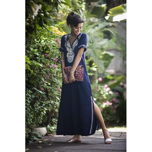 Платье тёмно-синее длинное с вышивкой коттон - 405-09