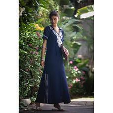 Платье тёмно-синее длинное с вышивкой коттон - 405-09, фото 2