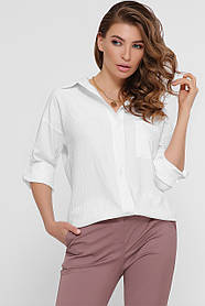 Базовая модная женская рубашка из хлопка блузка, размер от 42 до 48