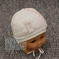 Двухслойная р 44 6-9 мес велюровая шапочка для малышей девочки на завязках осенняя весенняя 4380 Розовый