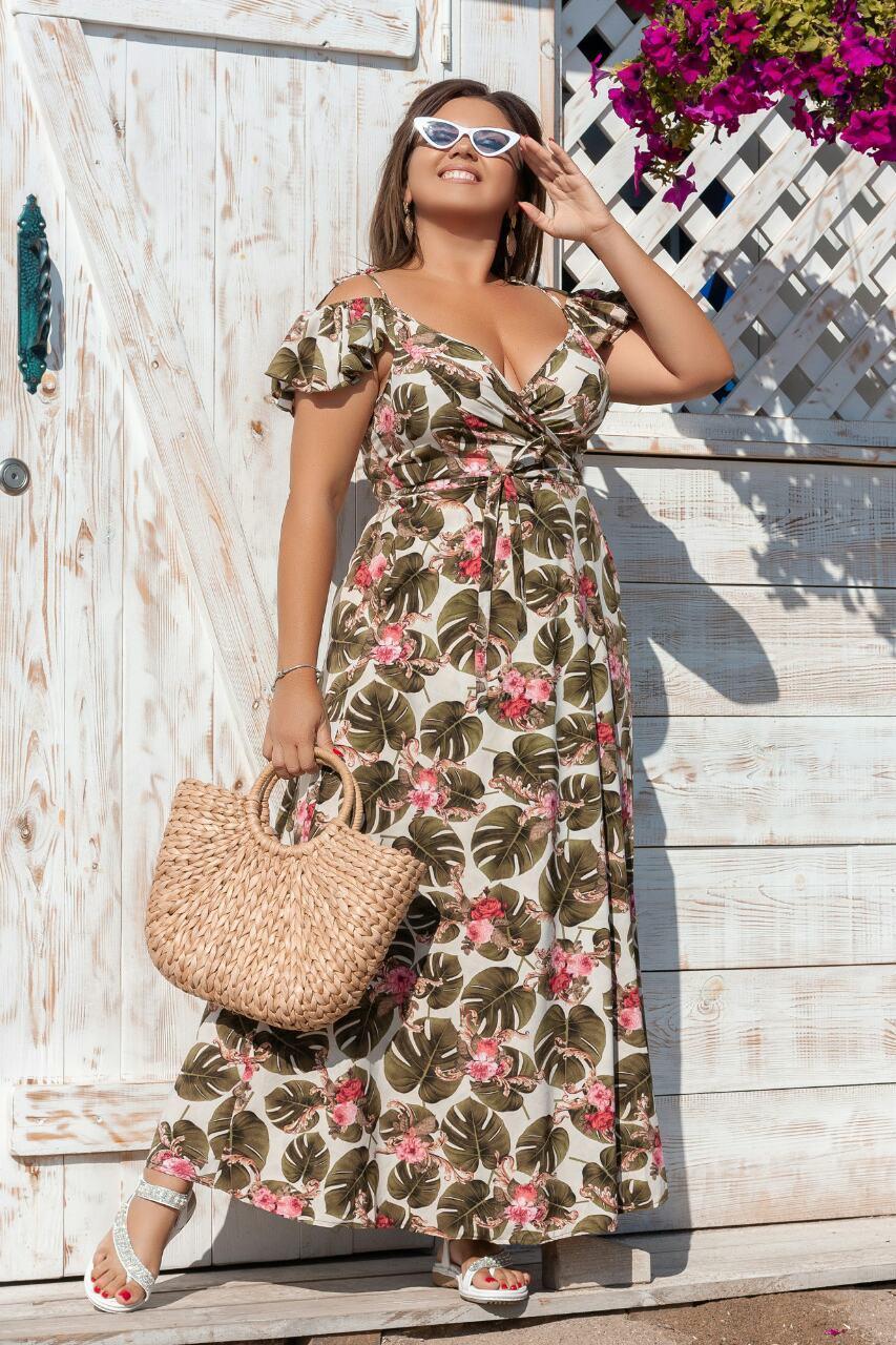Платье в пол, на запах, ажурное, больших размеров 50,52,54,56 Фисташковый