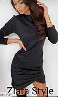 Женское платье однотонное. Размеры: S-M, М-L. Ткань плотный замш на дайвинге. Цвет черный, пудра.