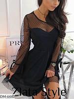 Женское платье черное. Размеры: S-M, М-L. Ткань: сеточка принт + креп костюмка барби
