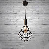 Черный подвесной светильник в стиле лофт на 1 лампочку Планета Света D-F5026/1