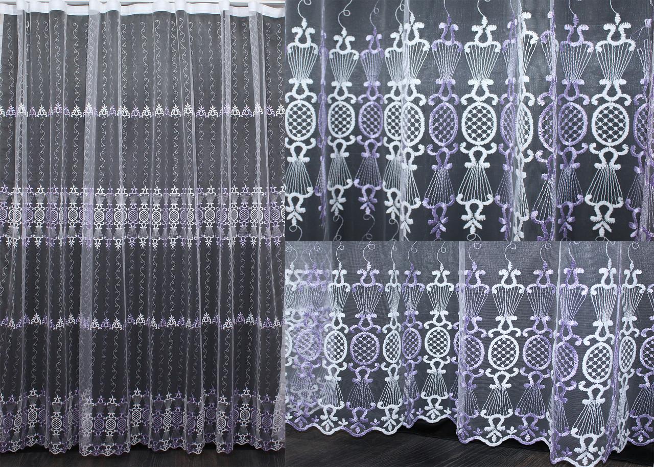 Тюль фатин с вышивкой, цвет бежевый. Код 481т(3*2,5)  40-077