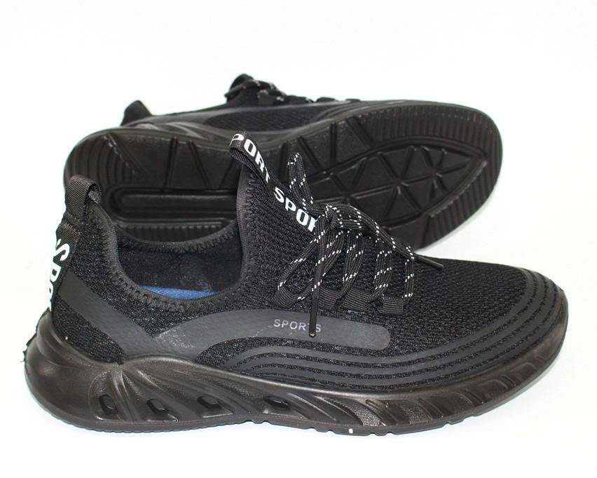 Легкие мужские кроссовки в черном цвете