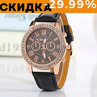 Модные наручные часы женские Geneva Черный
