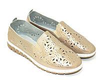 Бежевые туфли с перфорацией, фото 1