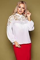Нарядная женская блузка украшенная рисунком на сетке, размер от 42 до 48, фото 2