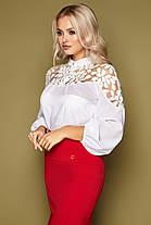 Нарядная женская блузка украшенная рисунком на сетке, размер от 42 до 48, фото 3