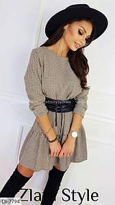 Женское платье жаккард с юбкой воланом. Размеры: S-M, M-L.