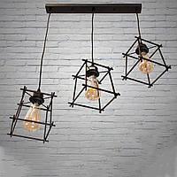 Черный подвесной светильник в стиле лофт на 3 лампочки Планета Света D-2182/3A