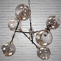 Черный подвесной светильник в стиле лофт на 6 ламп Планета Света D-7920/6