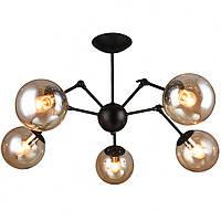 Люстра лофт на 5 лампочек Планета Света (черная) PM-4563/5