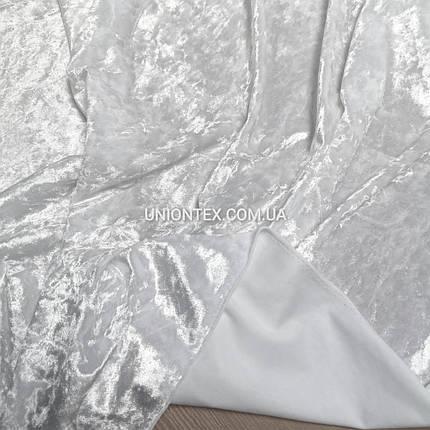 Ткань бархат стрейч мрамор белый, фото 2