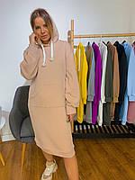 Платье худи миди двухнитка KT573
