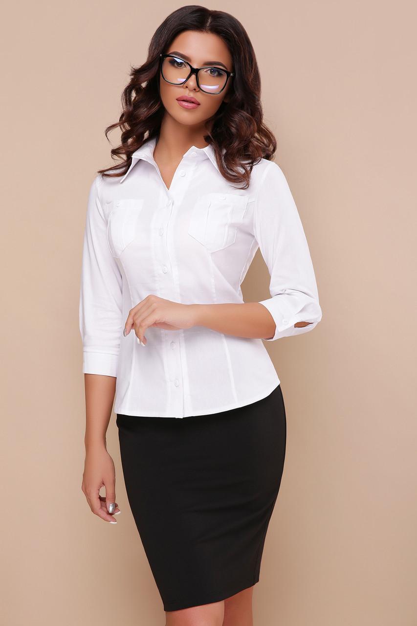 Классическая женская блузка белого цвета, размер от 42 до 48