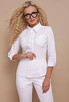 Классическая женская блузка белого цвета, размер от 42 до 48, фото 2