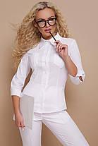 Классическая женская блузка белого цвета, размер от 42 до 48, фото 3