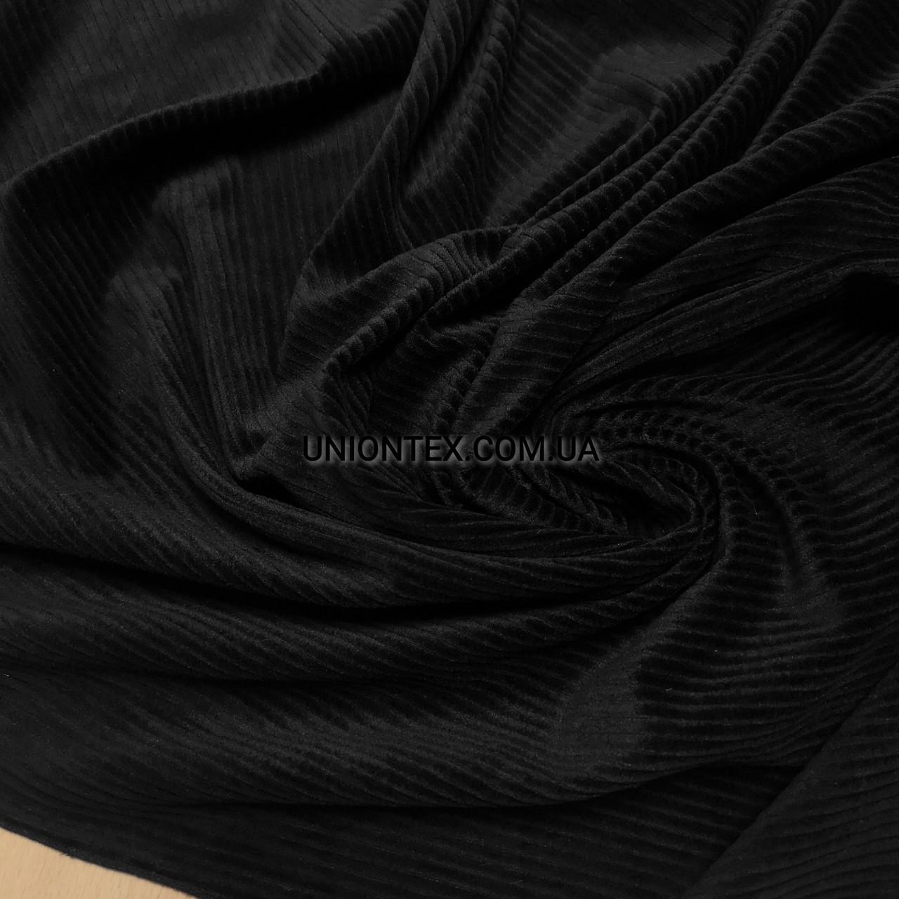 Ткань вельвет костюмно-плательный черный, ширина 150см
