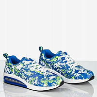 Женские кроссовки синие с яркими цветами