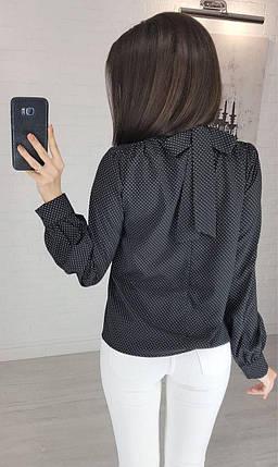"""Блузка в горошек с бантом на спине темно-синяя """"Эстер"""", фото 2"""