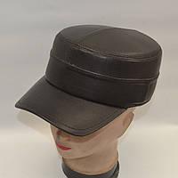 Мужская кожаная кепка с ушами - Модель 29-126