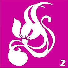 Цветок № 2 - трафарет для био тату хной и глиттер от Boni Kasel 6*6 см
