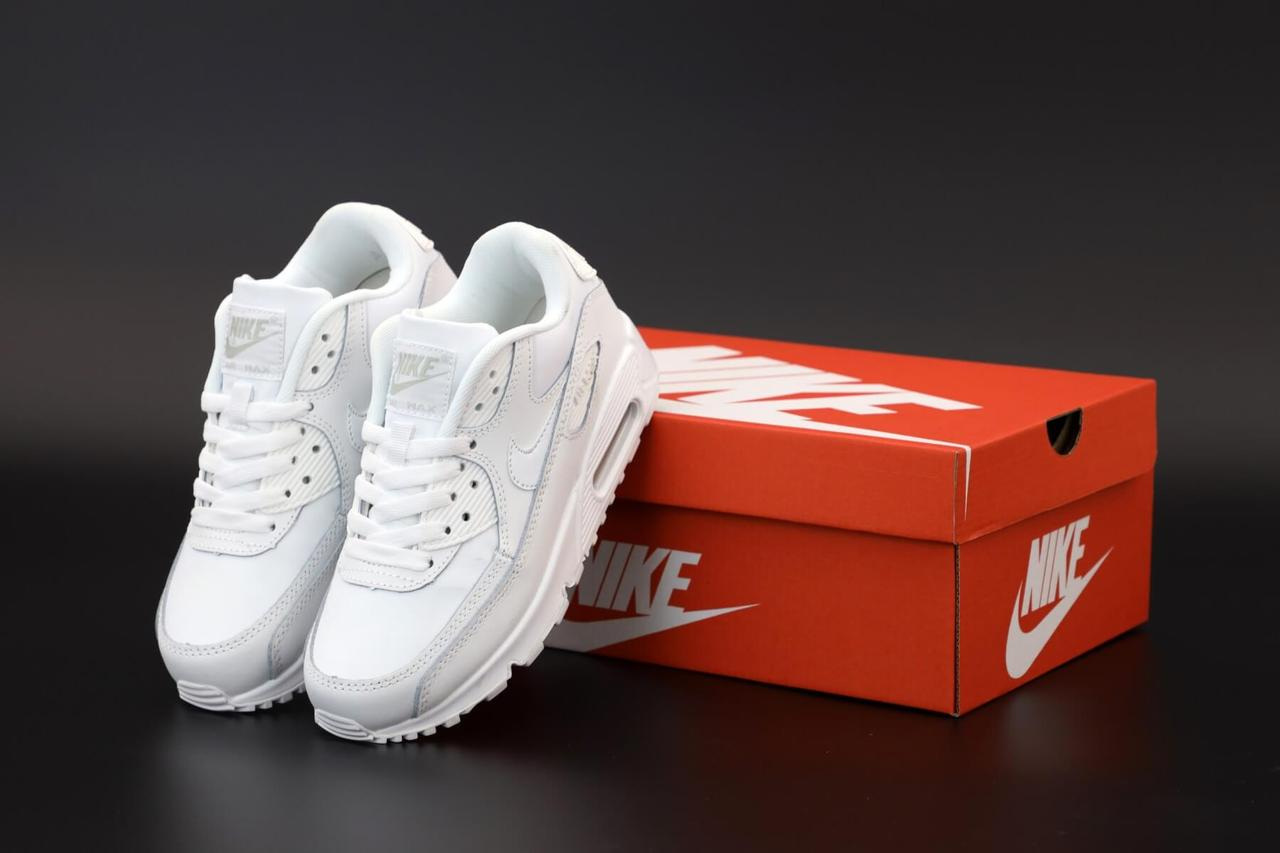 Кроссовки Nike Air Max 90 белого цвета (Найк Аир Макс 90) кожаные мужские и женские