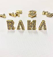 Золоті літери зі стразами , набірний браслет, фото 1