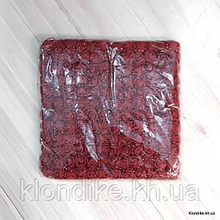 Розочки с Фатином, d - 2 см, Цвет: Бордовый (12 букетов в упаковке)