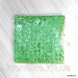 Розочки с Фатином, d - 2 см, Цвет: Зелёный (12 букетов в упаковке)