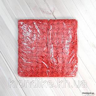 Розочки с Фатином, d - 2 см, Цвет: Красный (12 букетов в упаковке)