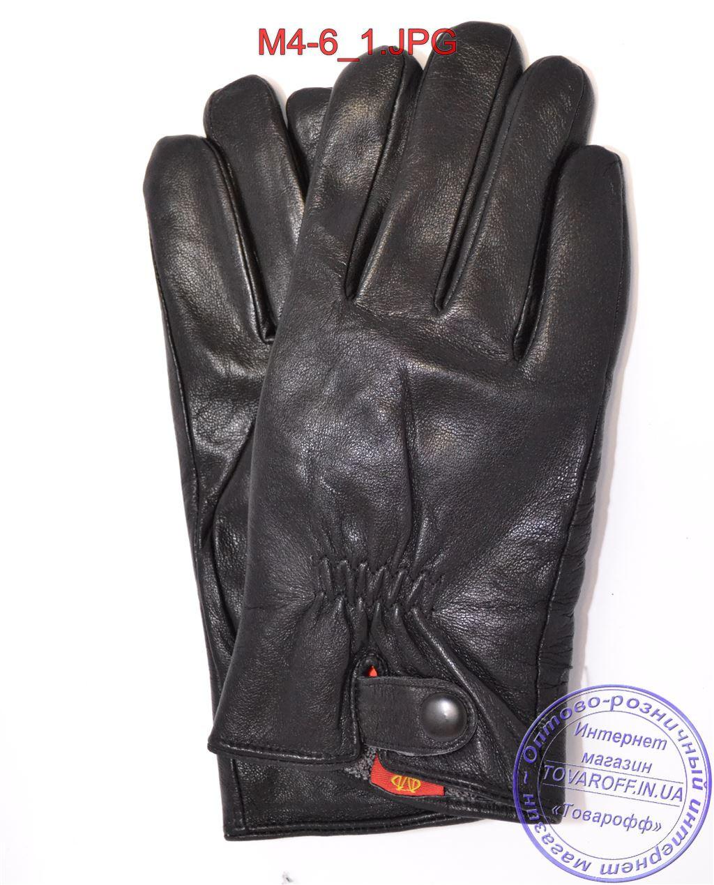 Оптом мужские кожаные перчатки с махровой подкладкой - №M4-6