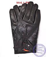 Оптом мужские кожаные перчатки с махровой подкладкой - №M4-6, фото 1