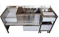 Барная станция FoodMebel 1700х600х850 мм с мойкой, ринзером, спил-стопом и ящиком выдвижным