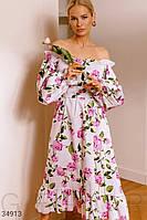 Хлопковое платье с цветочным принтом UN