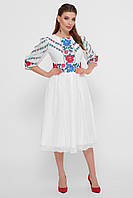 Модное белое платье миди  с цветочным принтом
