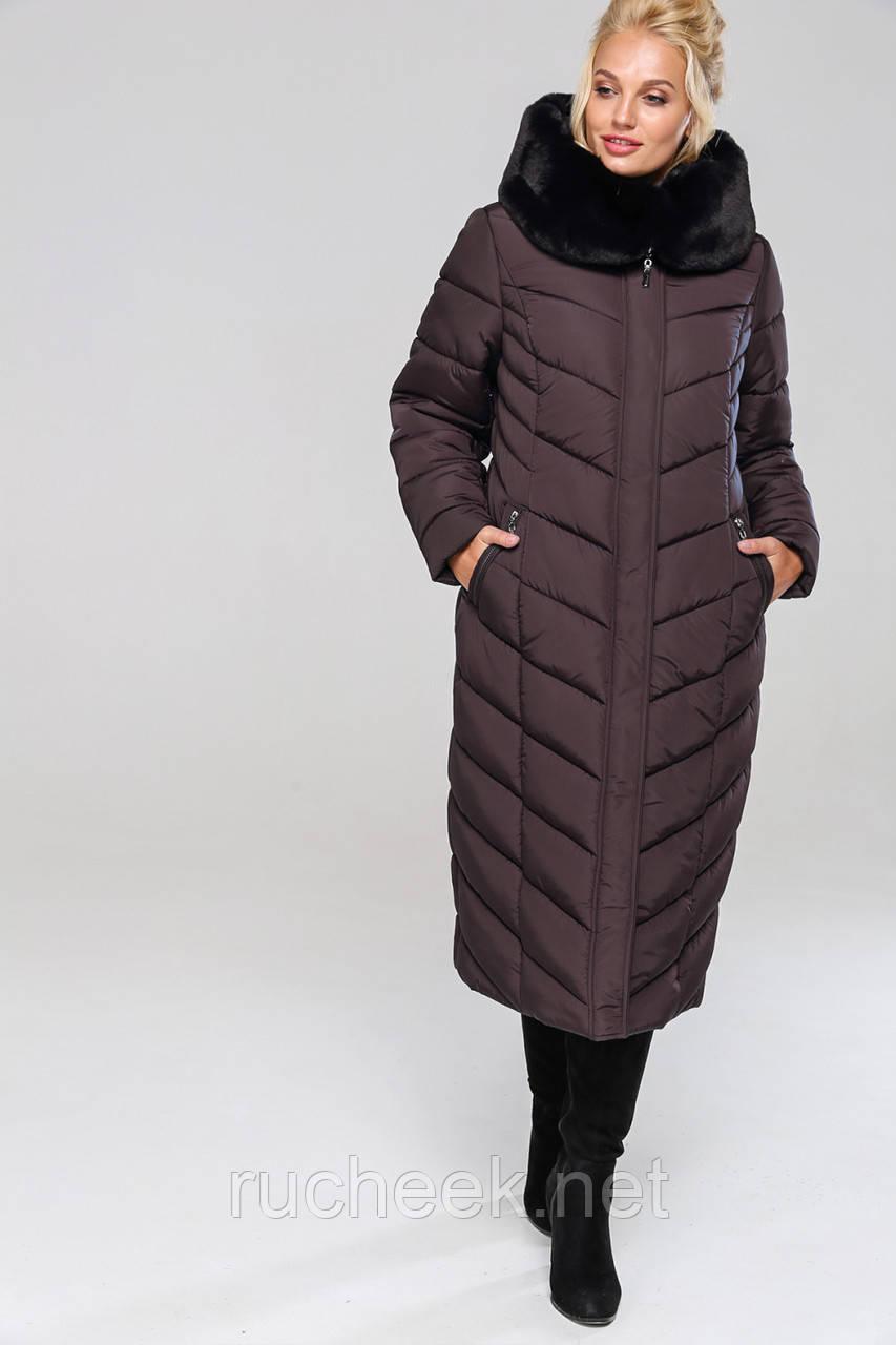 Женское зимнее длинное пальто Амаретта,  размеры 54 - 64, Новая коллекция  NUI VERY,